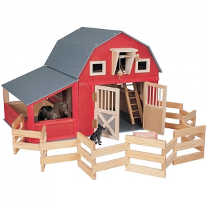 Red Gable Barn with Corral and Stall