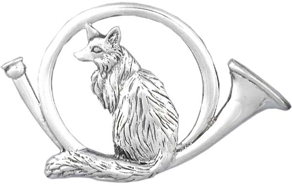 Fox and Horn Sterling Silver Pin