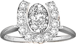Ring Kelly Herd Shoe with Oval Crystal