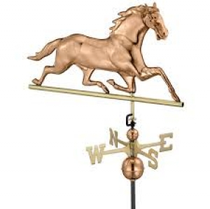 Galloping Horse Polished Copper Weathervane